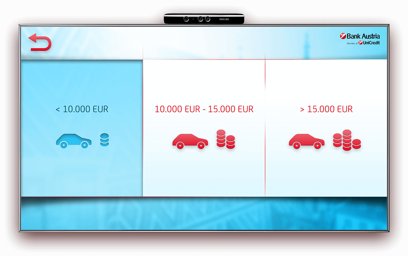 Bank Austria Kinect car selection screen