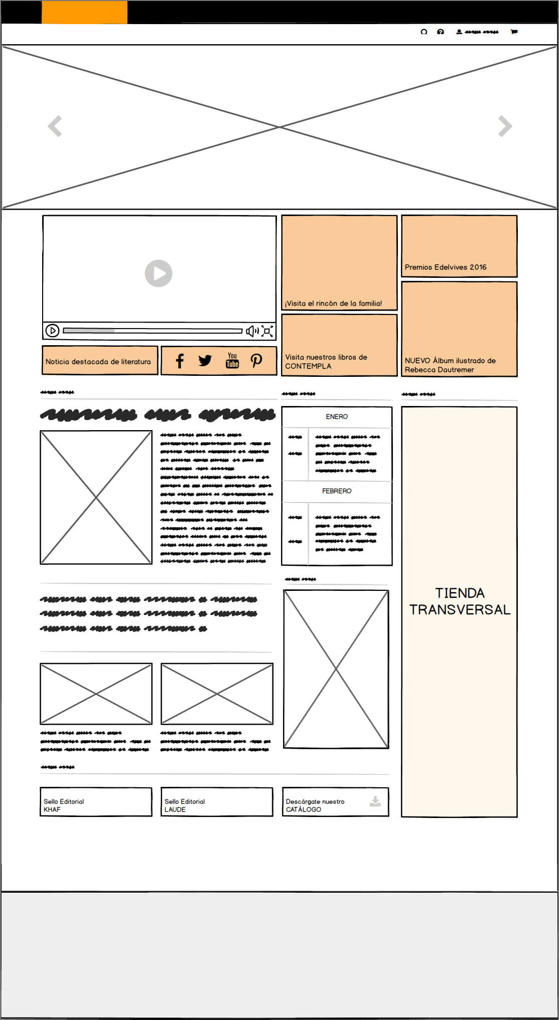 Home de Edelvives Wireframe