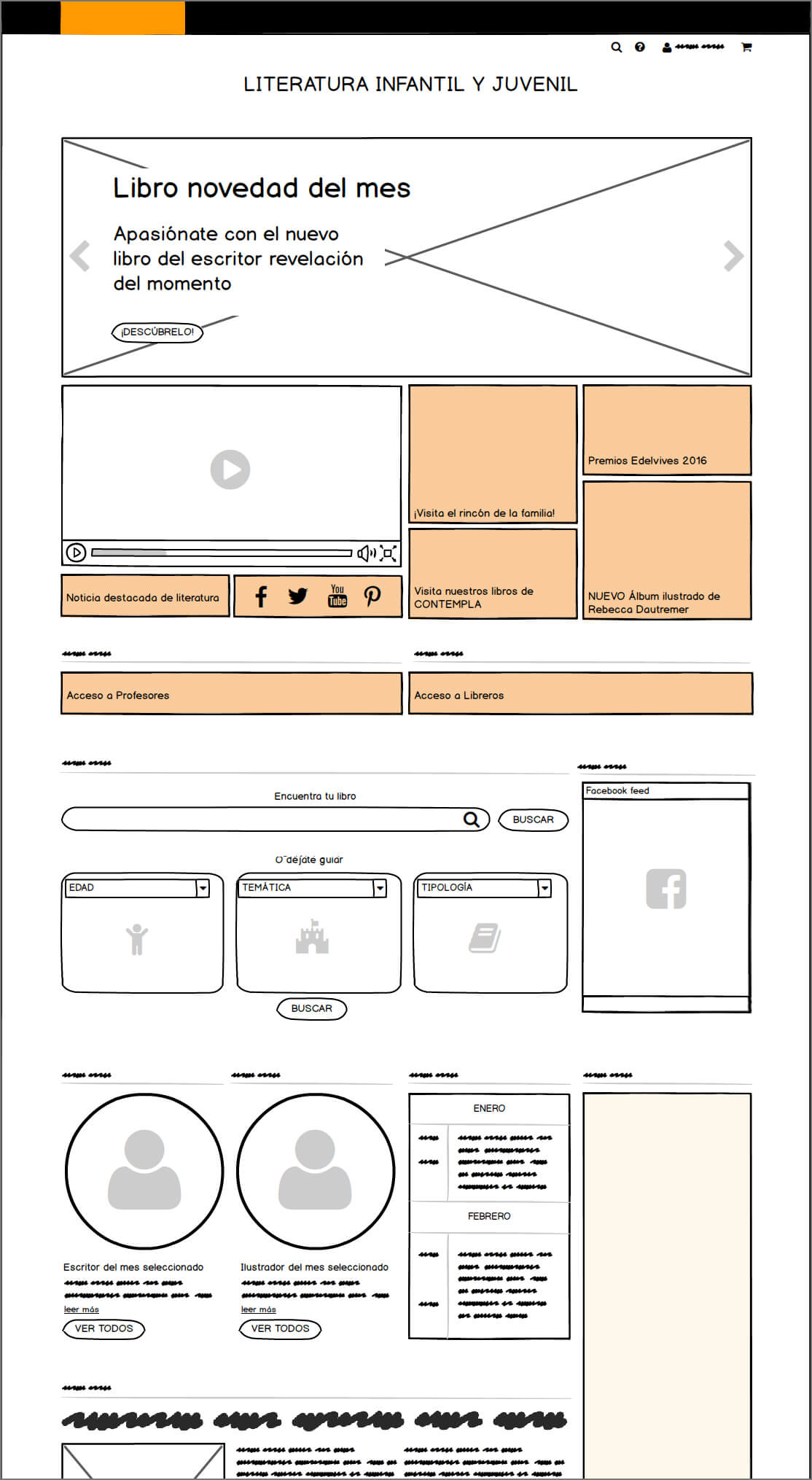 Wireframe seccion Literatura Edelvives