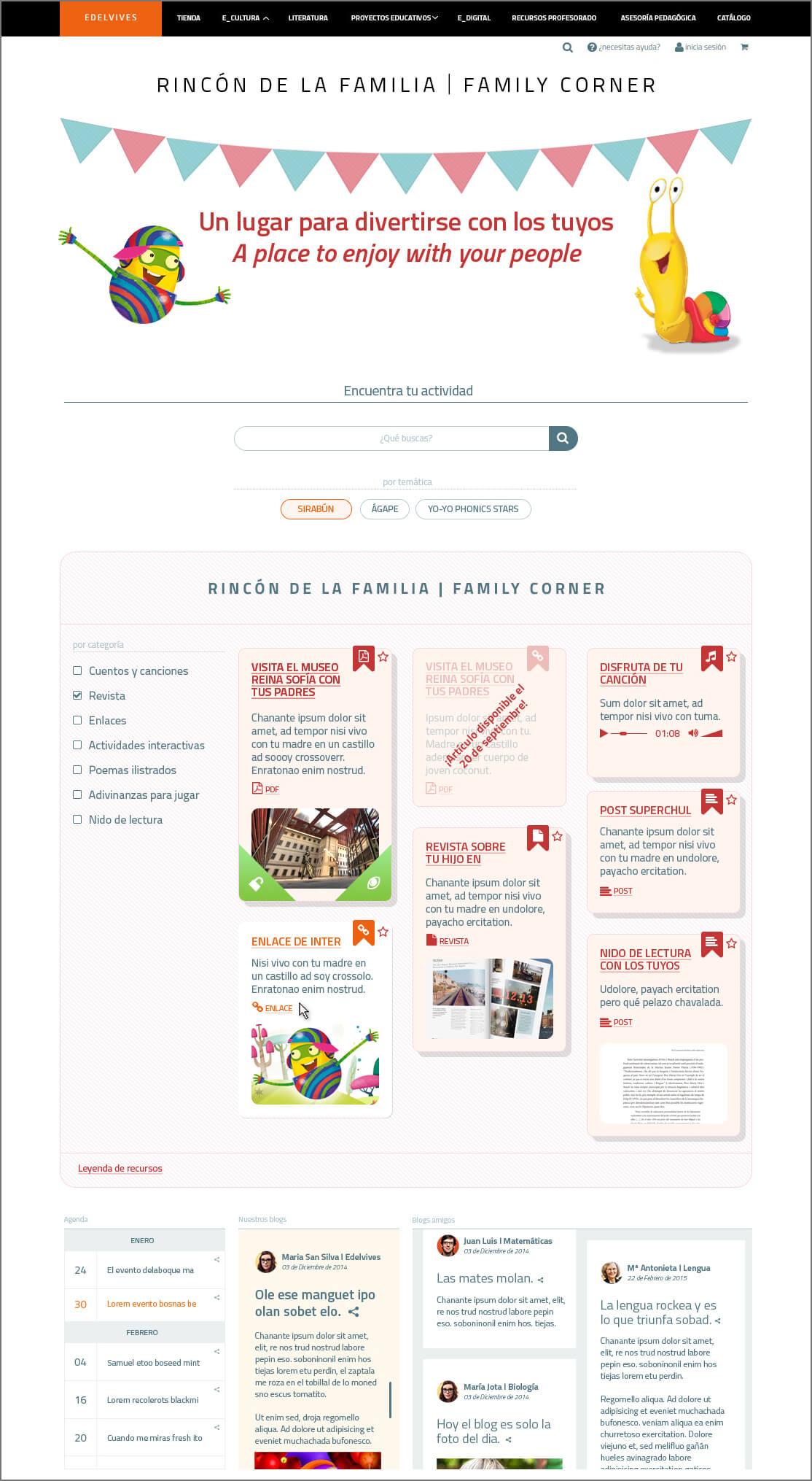Diseño web Rincón de la familia Edelvives
