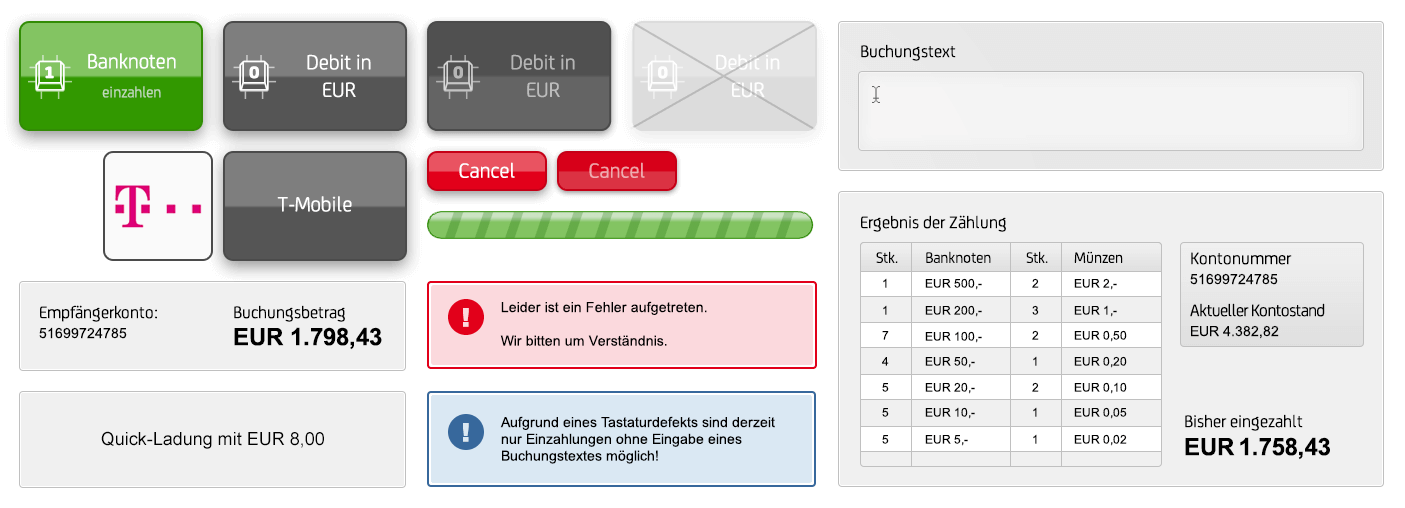 ATM Bank Austria user interface - Interfaz de usuario del cajero del Banco de Austria
