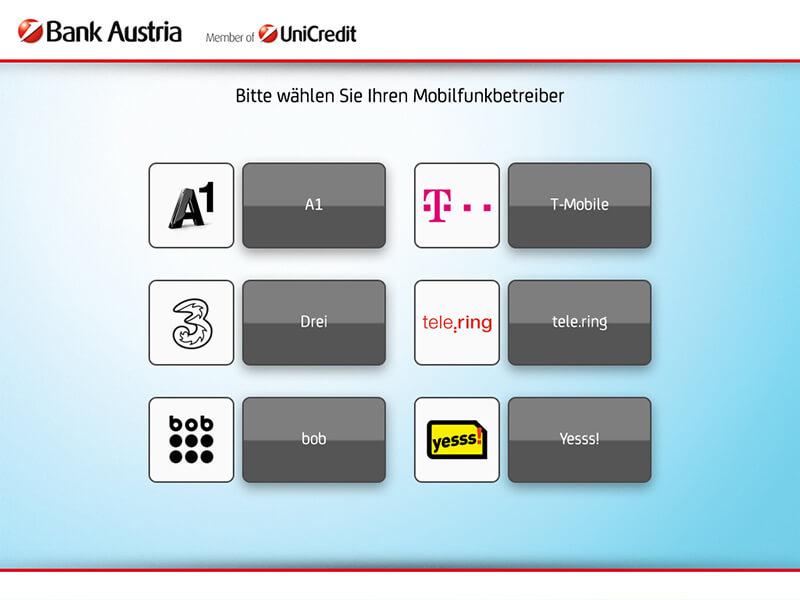 ATM interface mobile operator - Interfaz del cajero de selección operador móvil