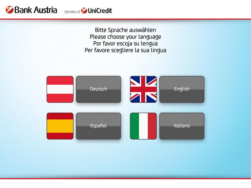 ATM interface language - Interfaz del cajero de selección de idioma