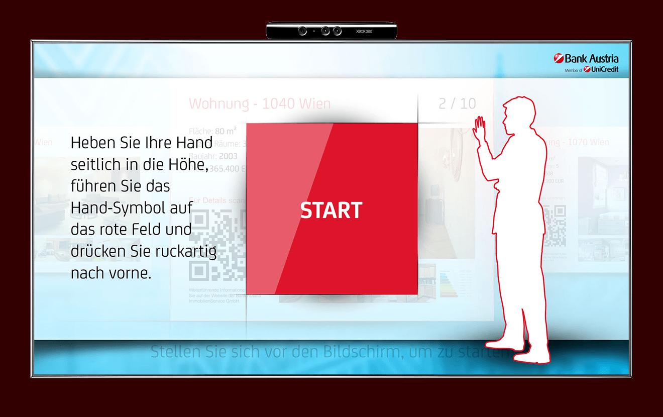Bank Austria Kinect Home interface