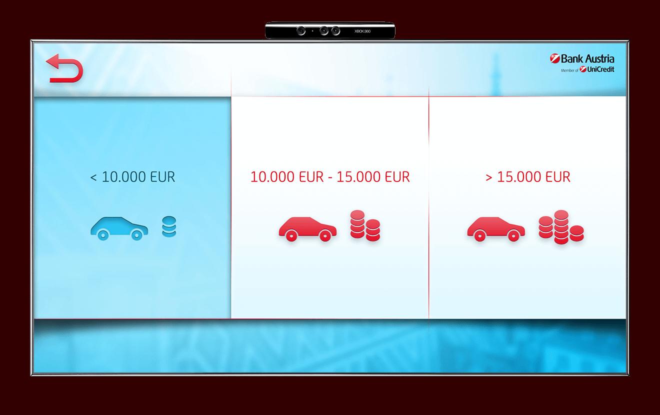 Bank Austria Kinect car selection screen