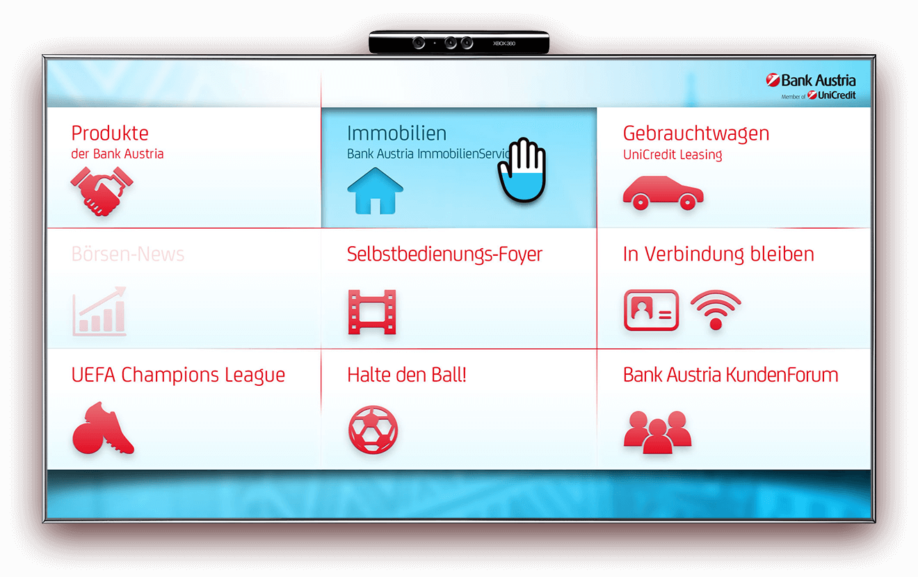 Bank Austria Kinect categories section interface