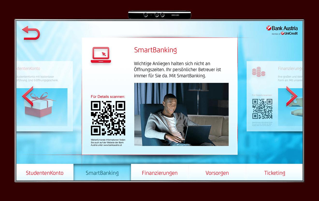 Bank Austria Kinect David Alaba prodcut interface