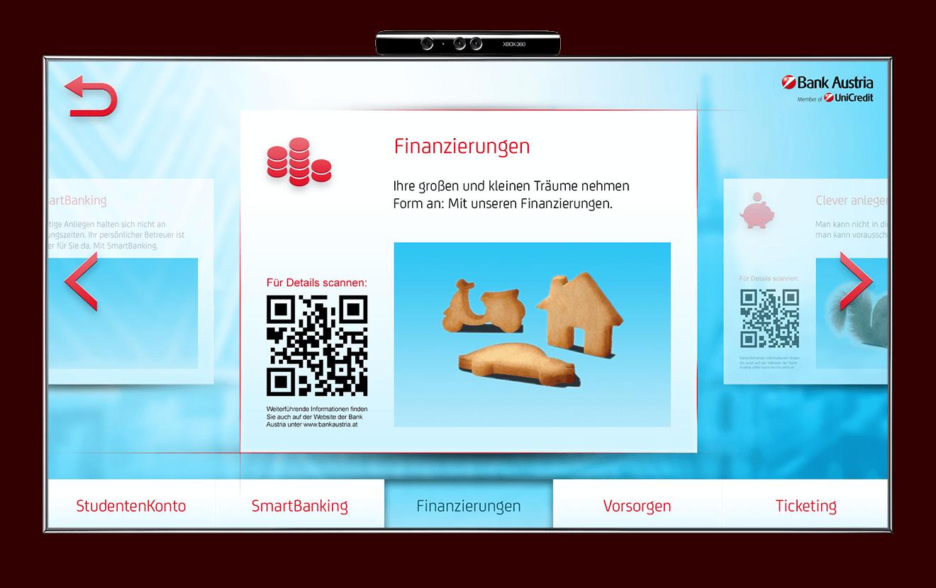 Bank Austria Kinect UI