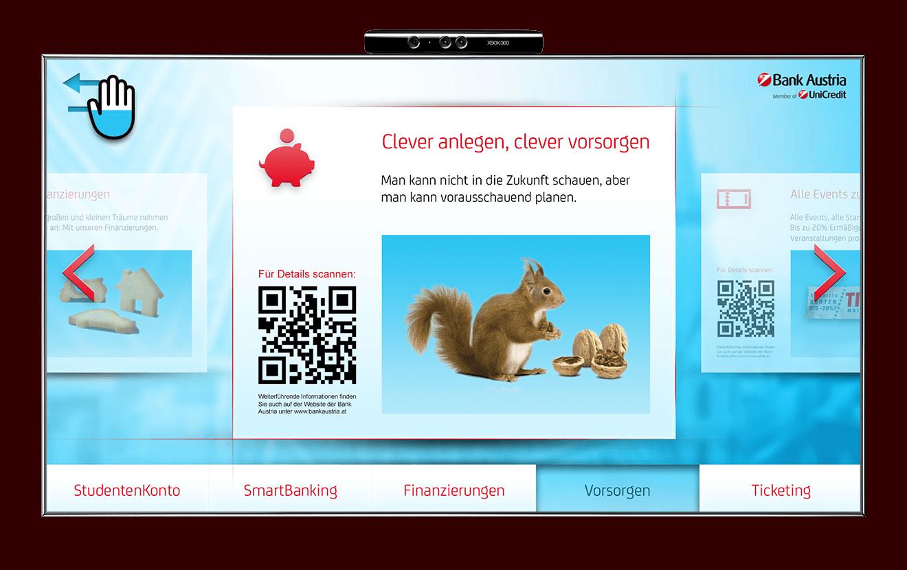 Bank Austria Kinect interface screen