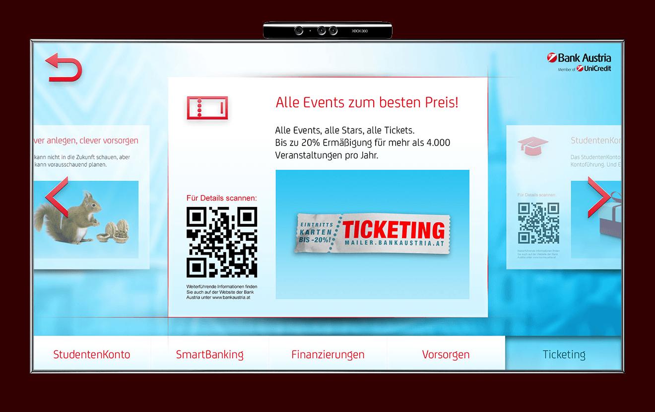 Bank Austria Kinect discount screen