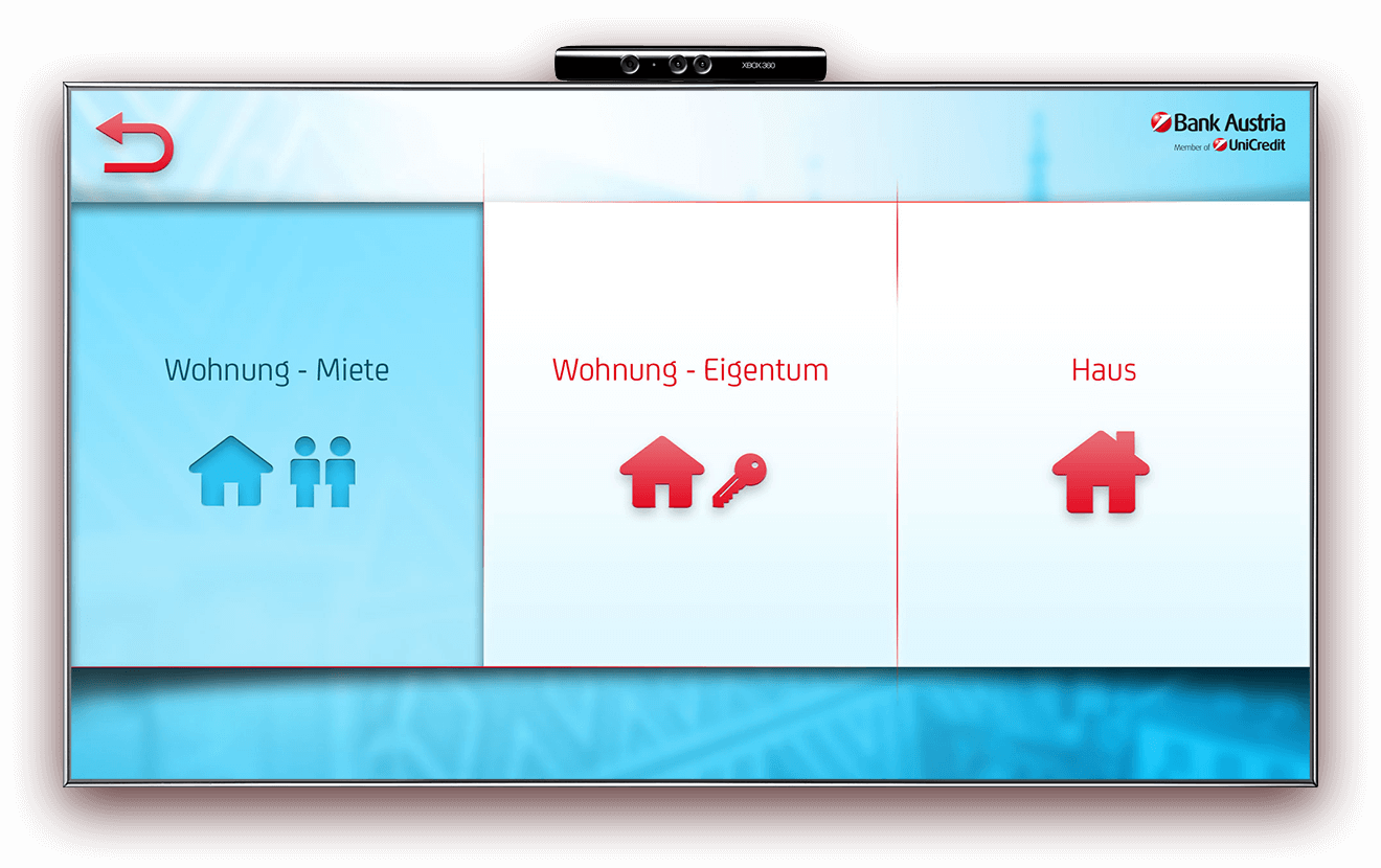 Bank Austria Kinect simple selection